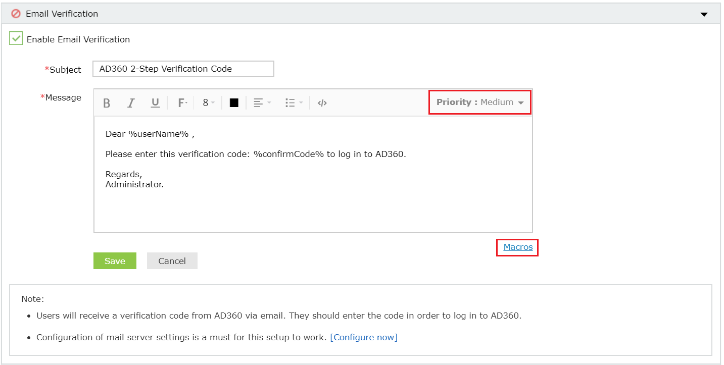 Two-factor Authentication email verification