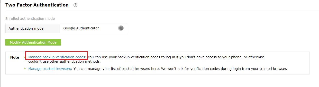 Registering for backup verification code