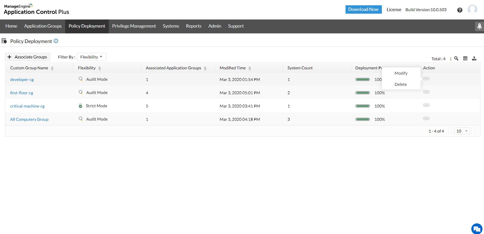Greylisted Applications- Modify