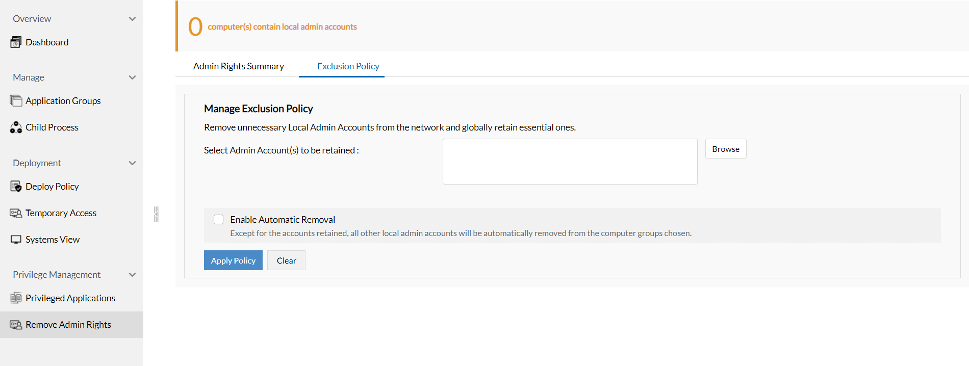Remove Admin Rights - Exclusion Policy | ManageEngine Application Control Plus