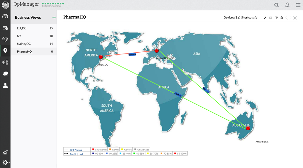 Business Views with Devices & Maps - ManageEngine OpManager