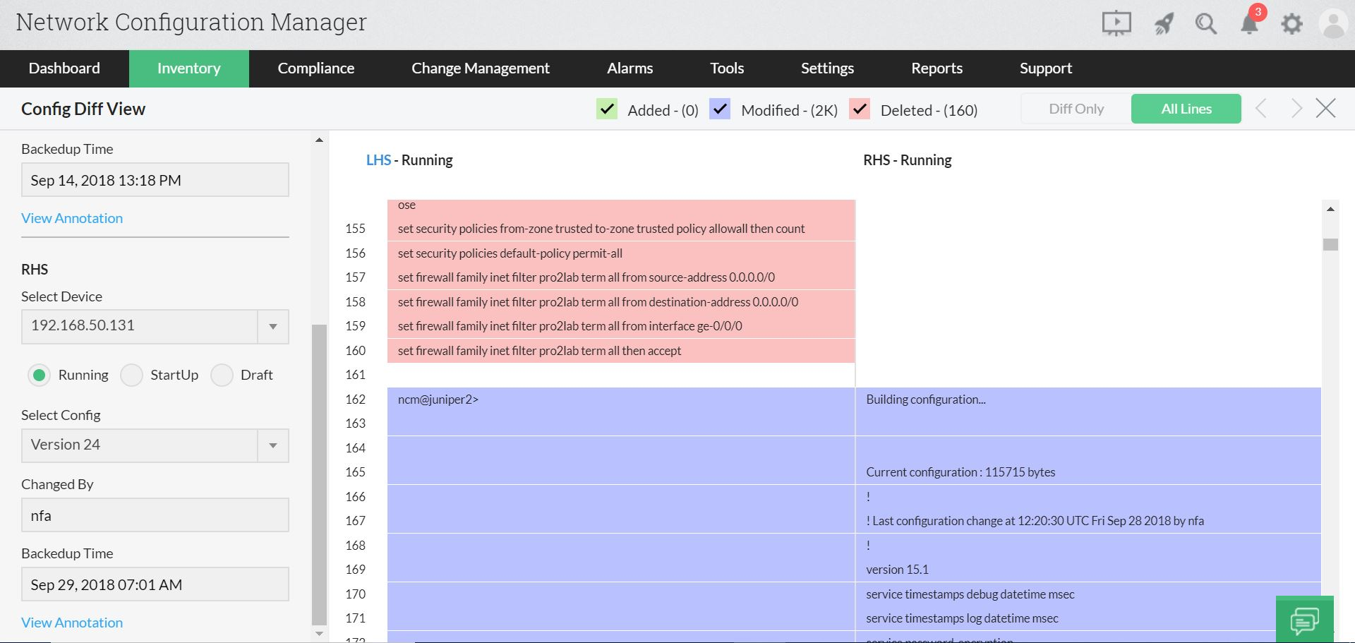 Configuration diff view Tool