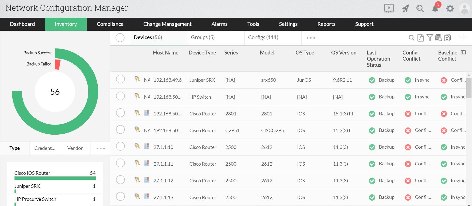 Configuration backup for NCM
