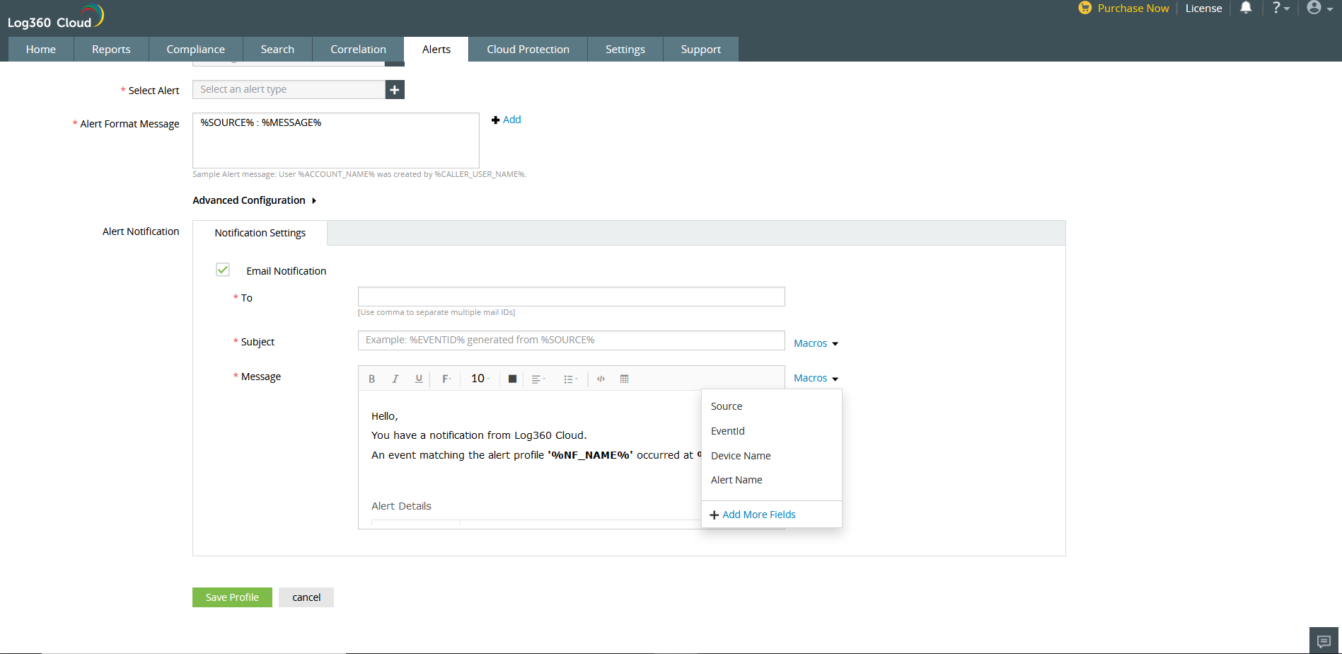 Creating Alert Profiles