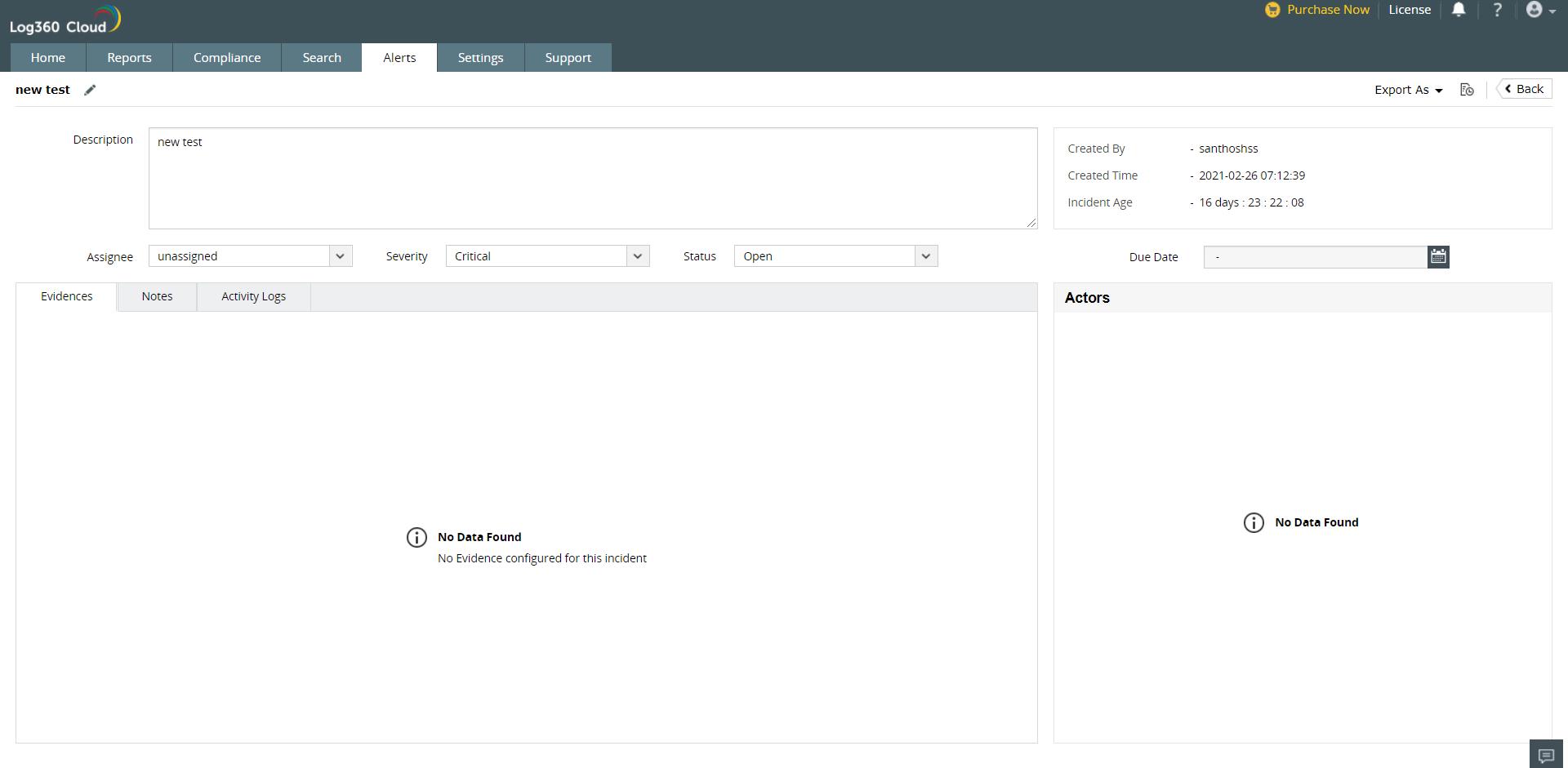 Incident Management in Log360 Cloud