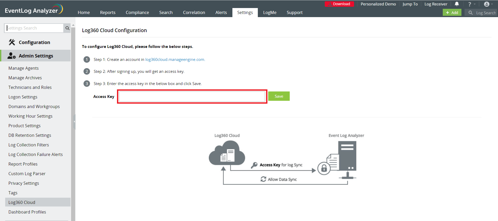 Log360 Cloud Security Access Key