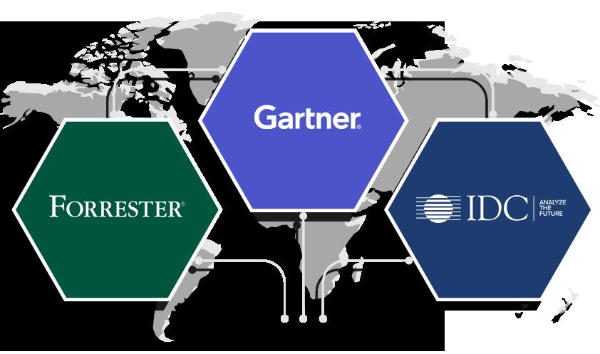 Anerkennung durch Gartner Magic Quadrant 2019, Forrester Wave, und IDC MarketScape.