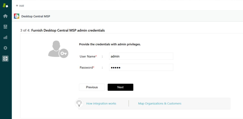 Furnish admin credentials