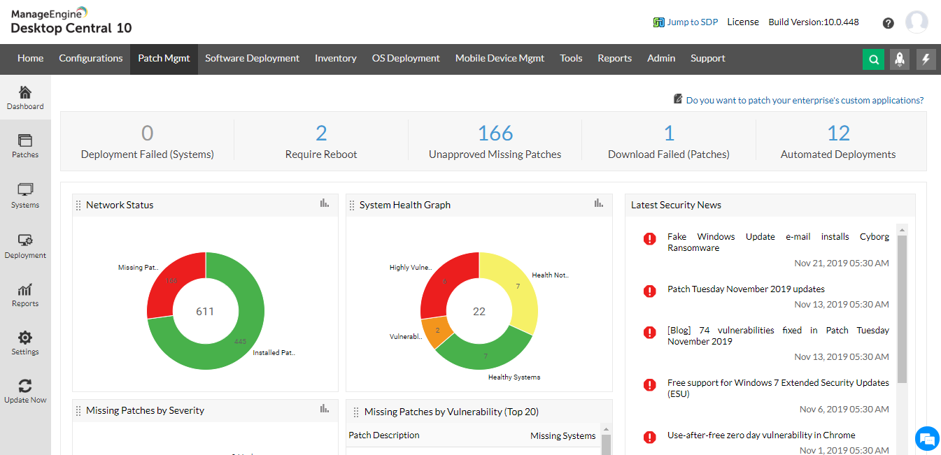 Patch management dashboard that gives you insights on your network in one go