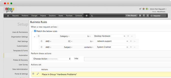 Automatiseret ticket-administrationssystem i ServiceDesk Plus