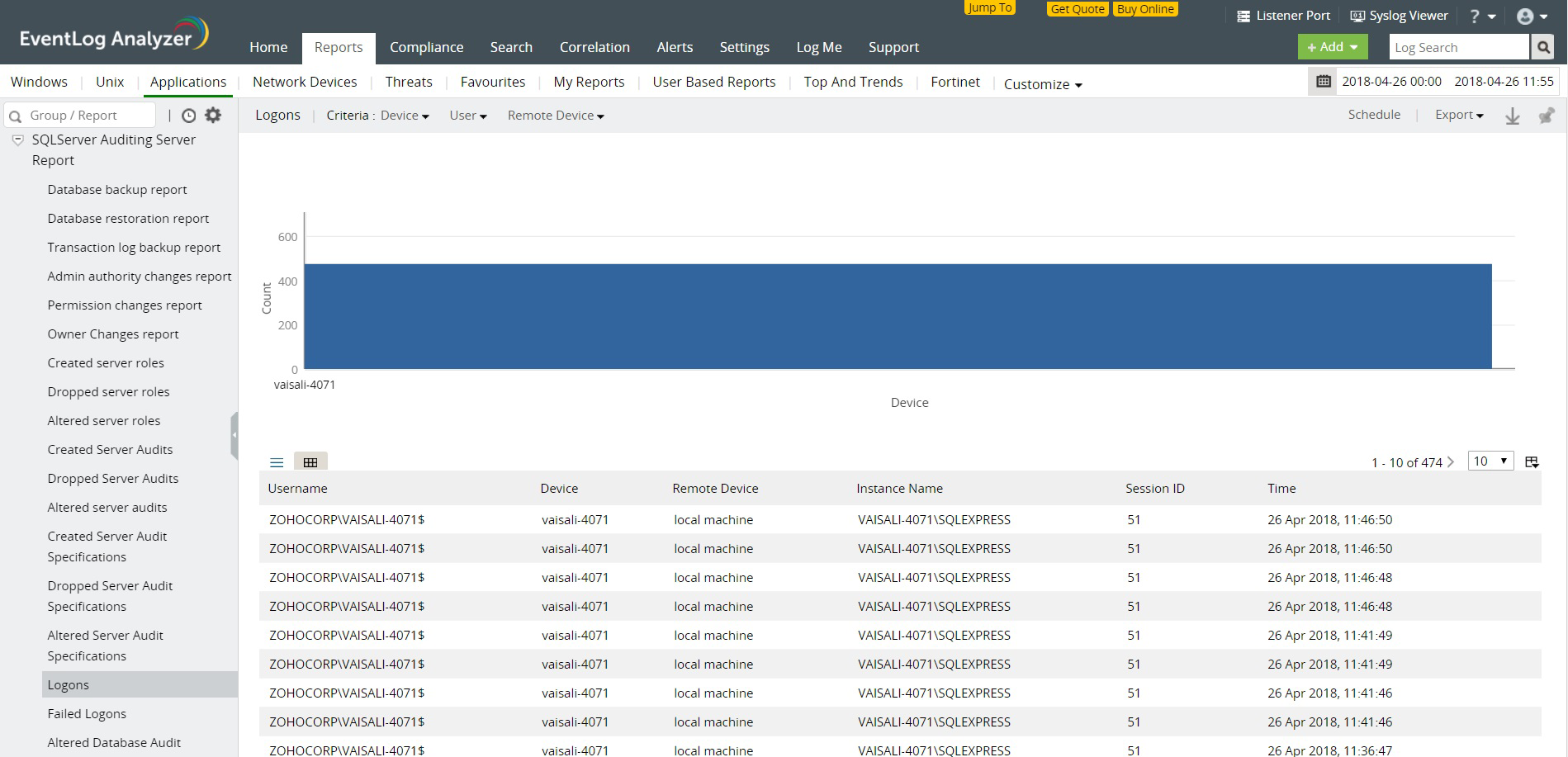 Informes de auditoría MS SQL Server: Auditoría de actividades de servidor