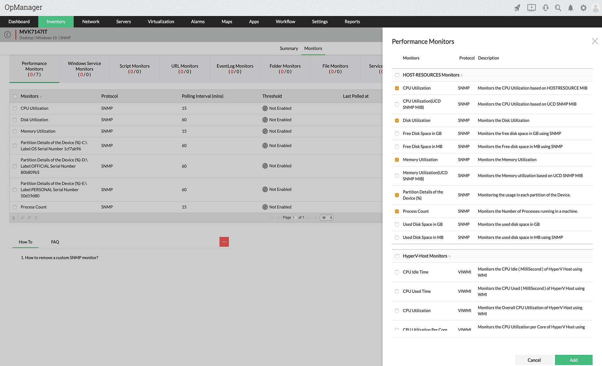 Monitor de temperatura CPU - ManageEngine OpManager
