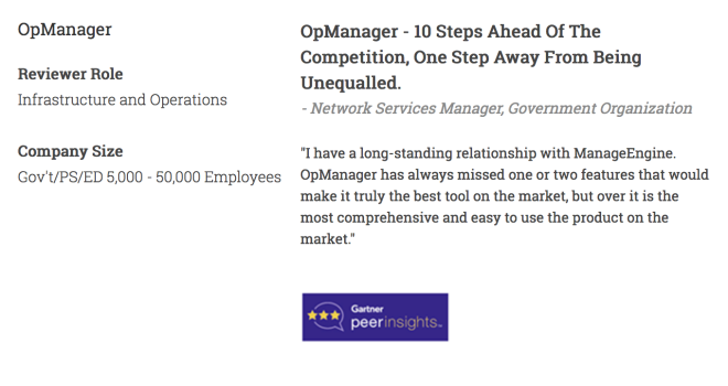 OpManager - 10 Steps Ahead of the Competition - Network Services Manager