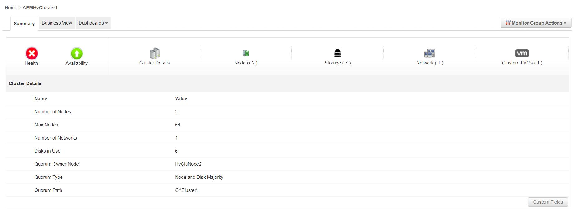 Hyper V Cluster Monitoring - ManageEngine Applications Manager