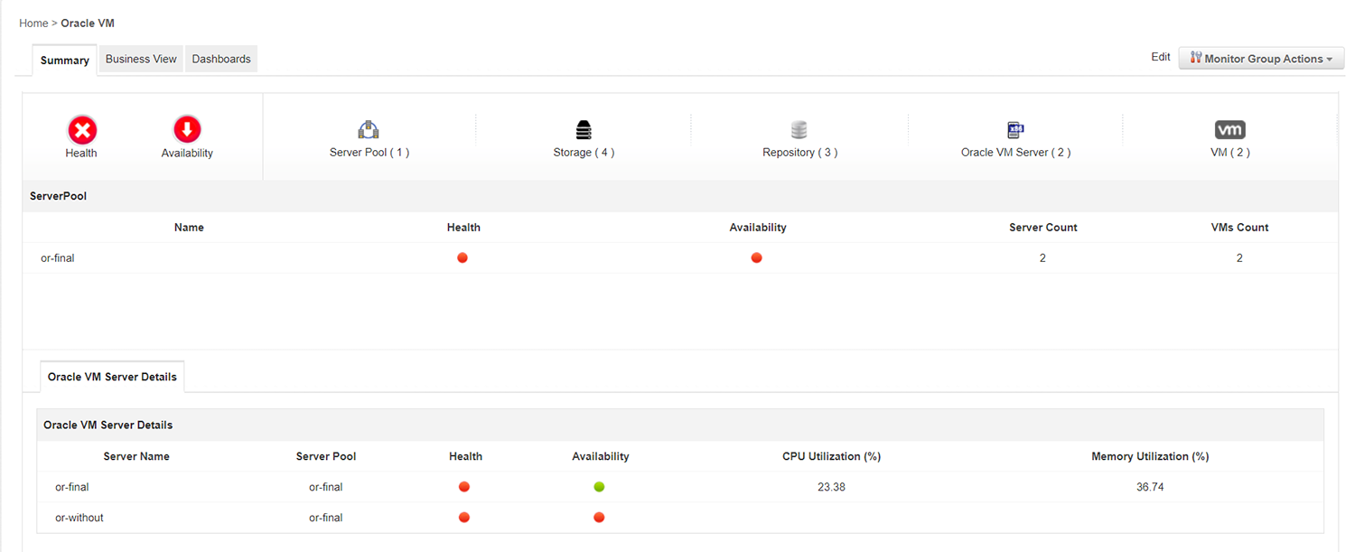 Oracle VM Monitoring - ManageEngine Applications Manager