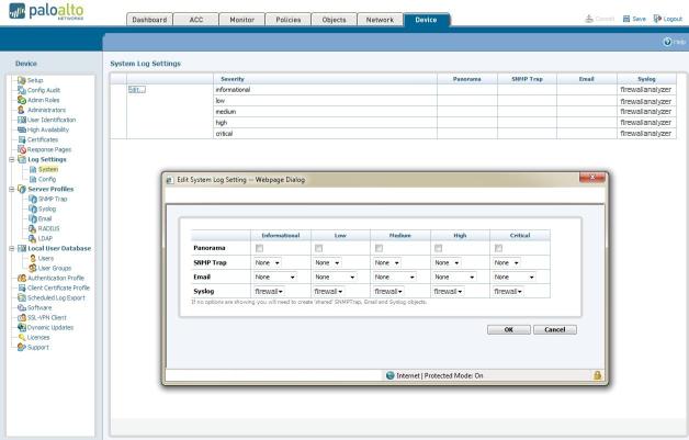 Palo Alto Configuration Screen 1
