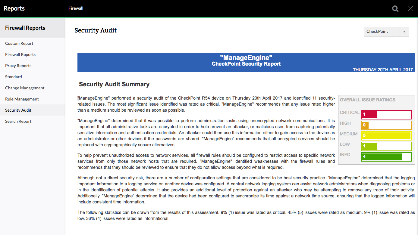 Checkpoint Firewall Security Audit