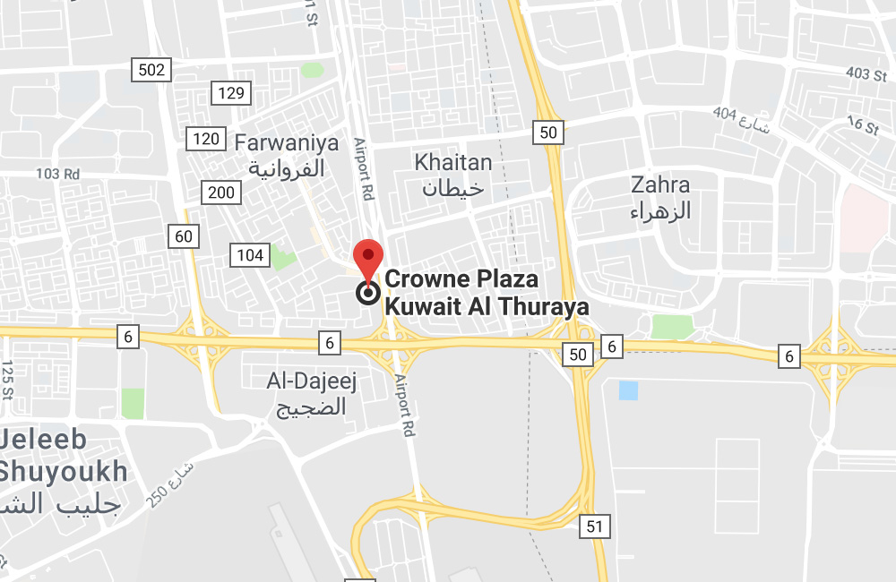 Hotel Crowne Plaza, P.O.BOX 18544, Airport Road 55, 81006 Farwaniya, Kuwait City, Kuwait