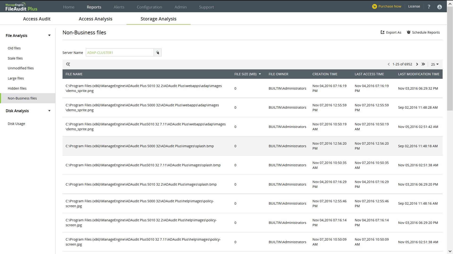 Storage Analysis Report