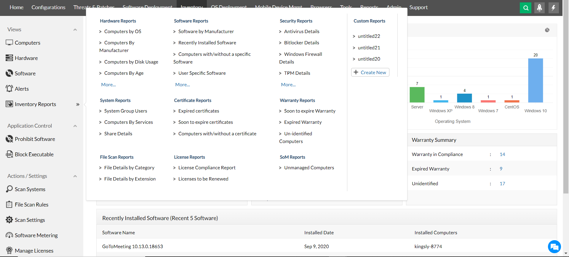 Built-in software inventory reports