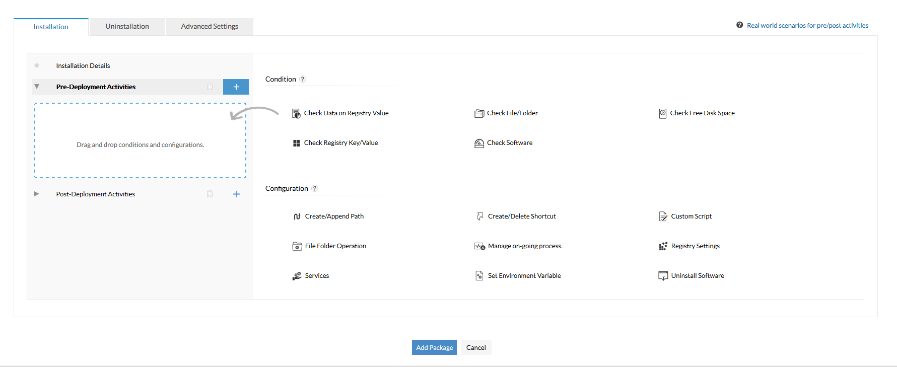 Configure condition-checks while deploying software  - ManageEngine Desktop Central
