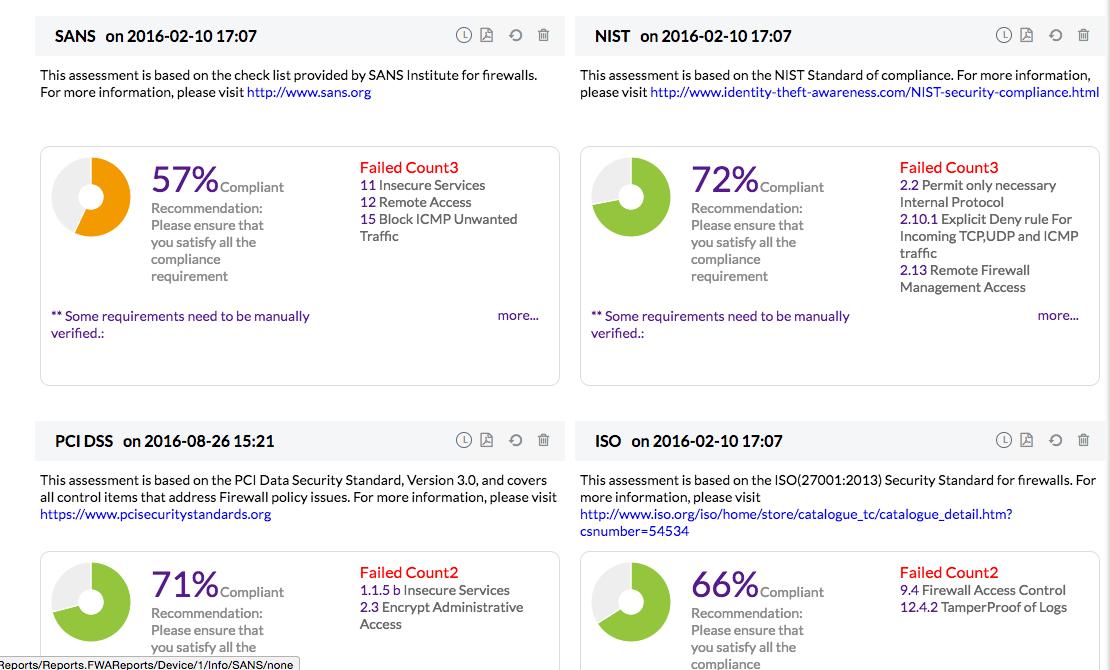Rapports de conformité basés sur les journaux de Palo Alto - ManageEngine Firewall Analyzer