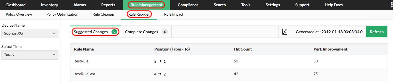 Recommandations de réorganisation des règles de pare-feu - ManageEngine Firewall Analyzer