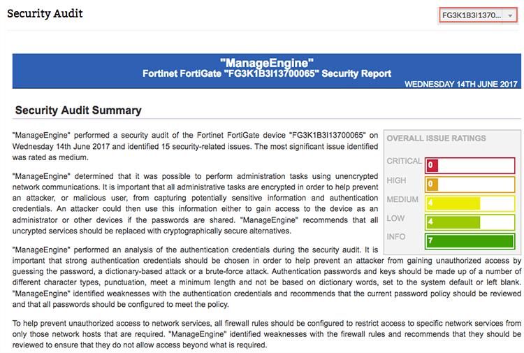 Audit de sécurité FortiGate - ManageEngine Firewall Analyzer