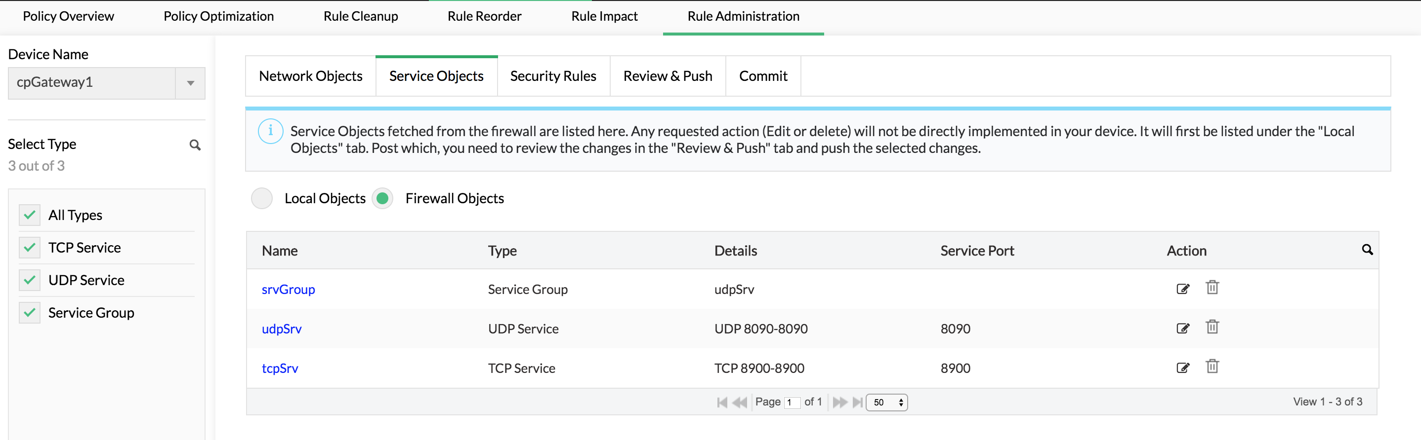 Ajout, modification et suppression d'objets de service et réseau - ManageEngine Firewall Analyzer