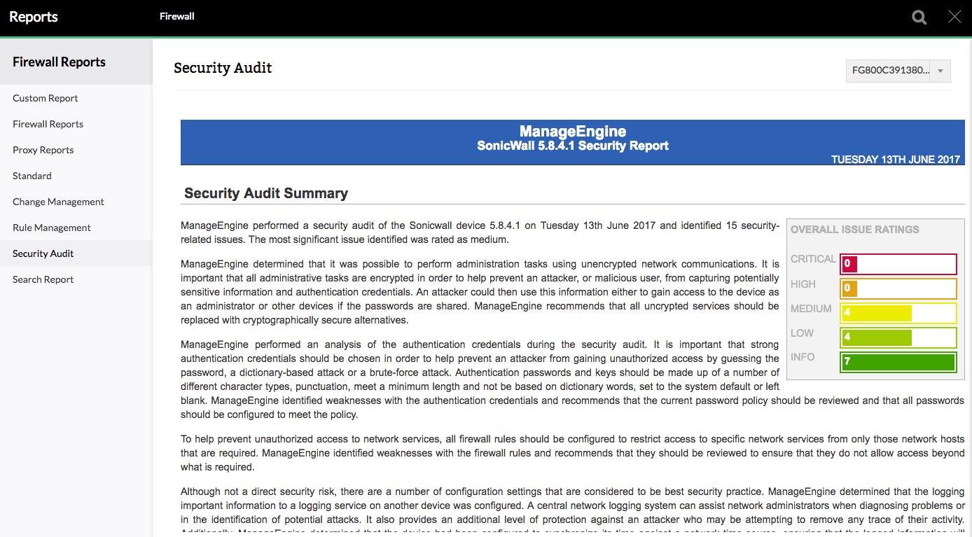 Audit de sécurité SonicWall - ManageEngine Firewall Analyzer