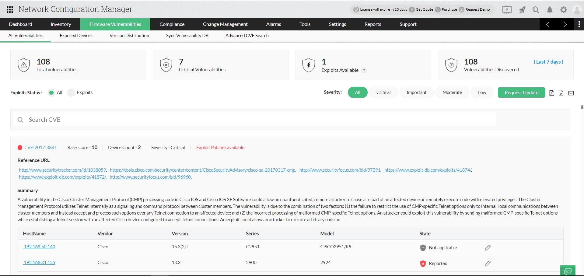 Firmware vulnerability - all vulnerabilities - ManageEngine Network Configuration Manager
