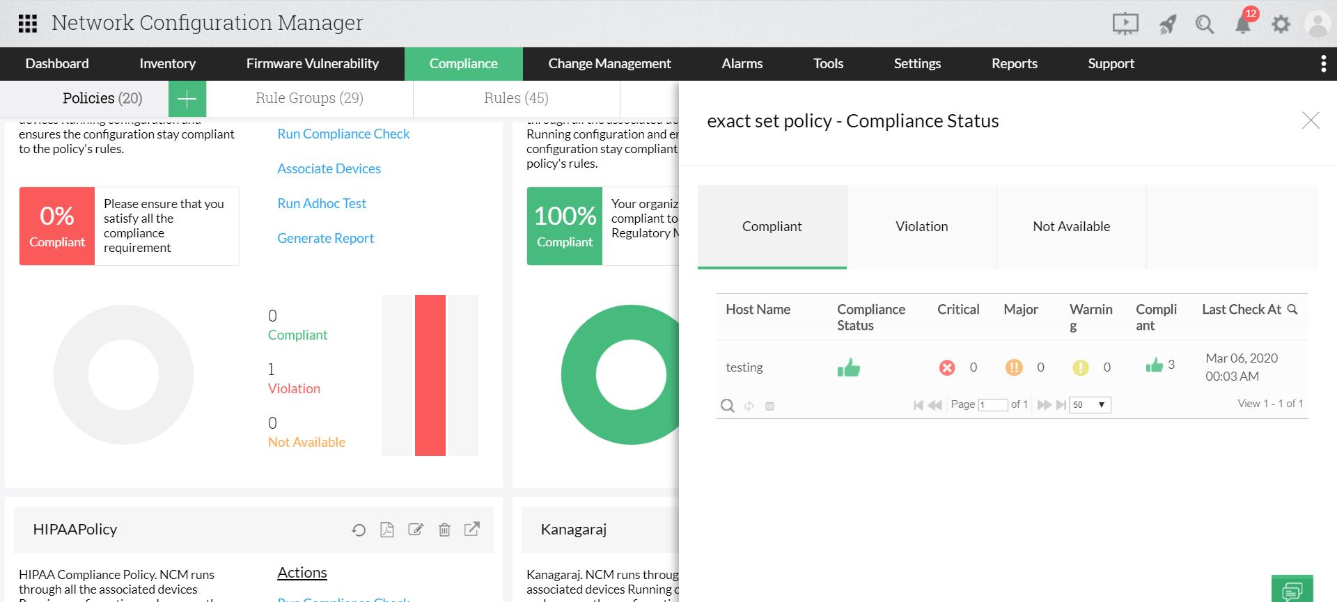 Audit de conformité dans les configurations de commutateurs Brocade - Network Configuration Manager de ManageEngine