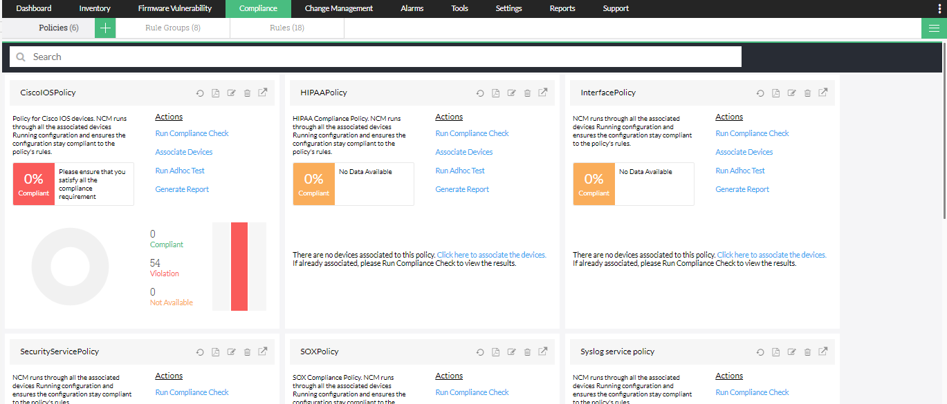 Compliance Aruba Networks - ManageEngine Network Configuration Manager