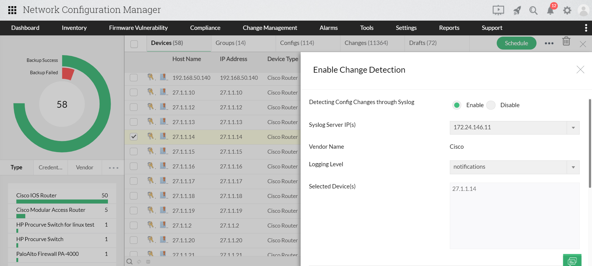 Automated Cisco switch configuration backup - ManageEngine Network Configuration Manager