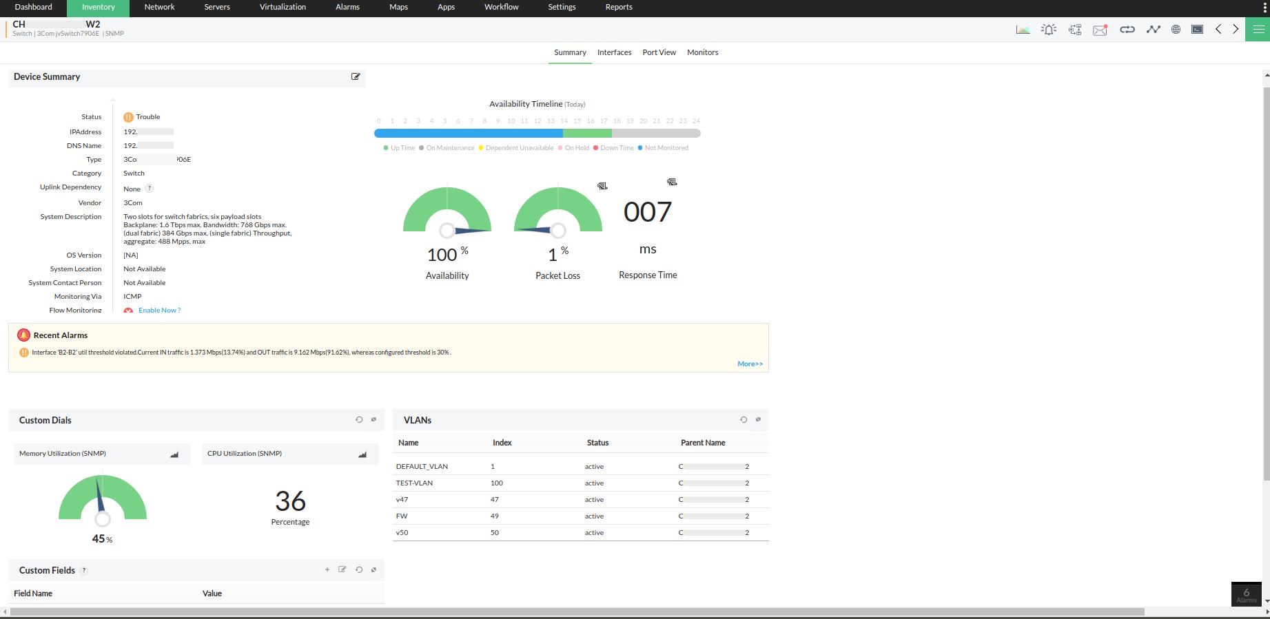 Logiciel d'analyse de port de commutateur 3Com- ManageEngine OpManager