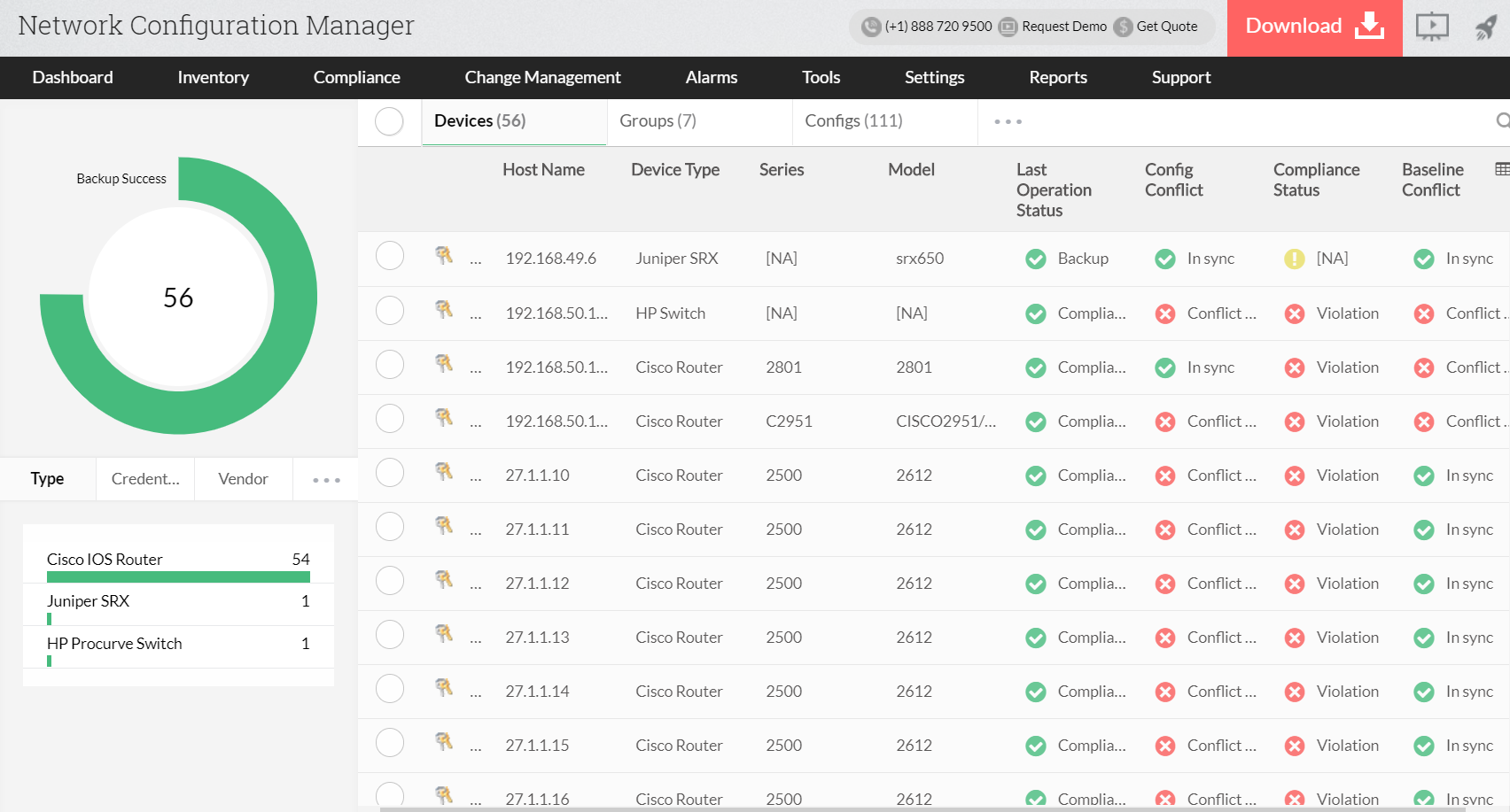 Sauvegarde / Restauration / Téléchargement des configurations - ManageEngine OpManager