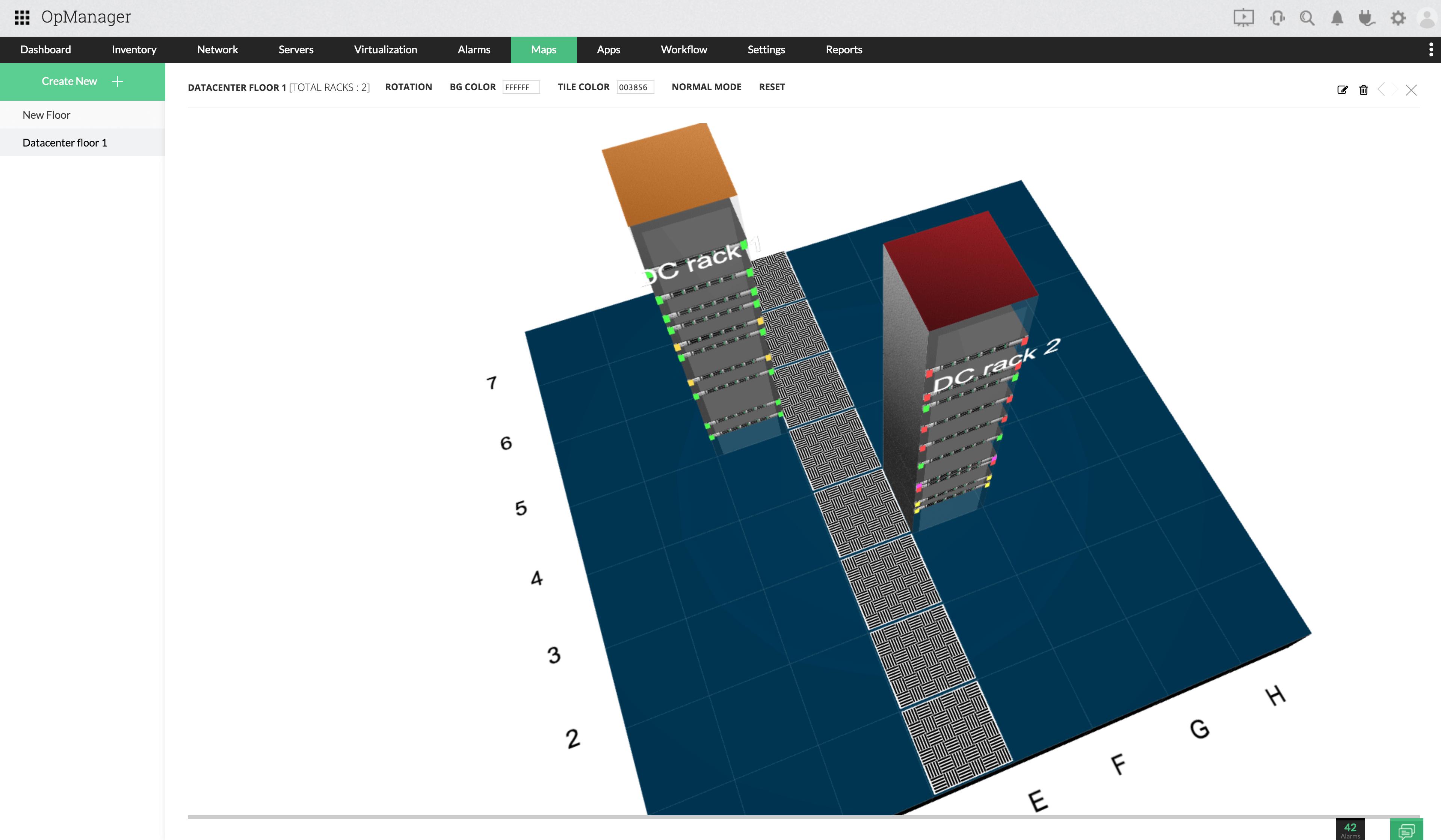 Visualisez l'infrastructure de votre centre de données à l'aide de racks et de vues 3D - ManageEngine OpManager