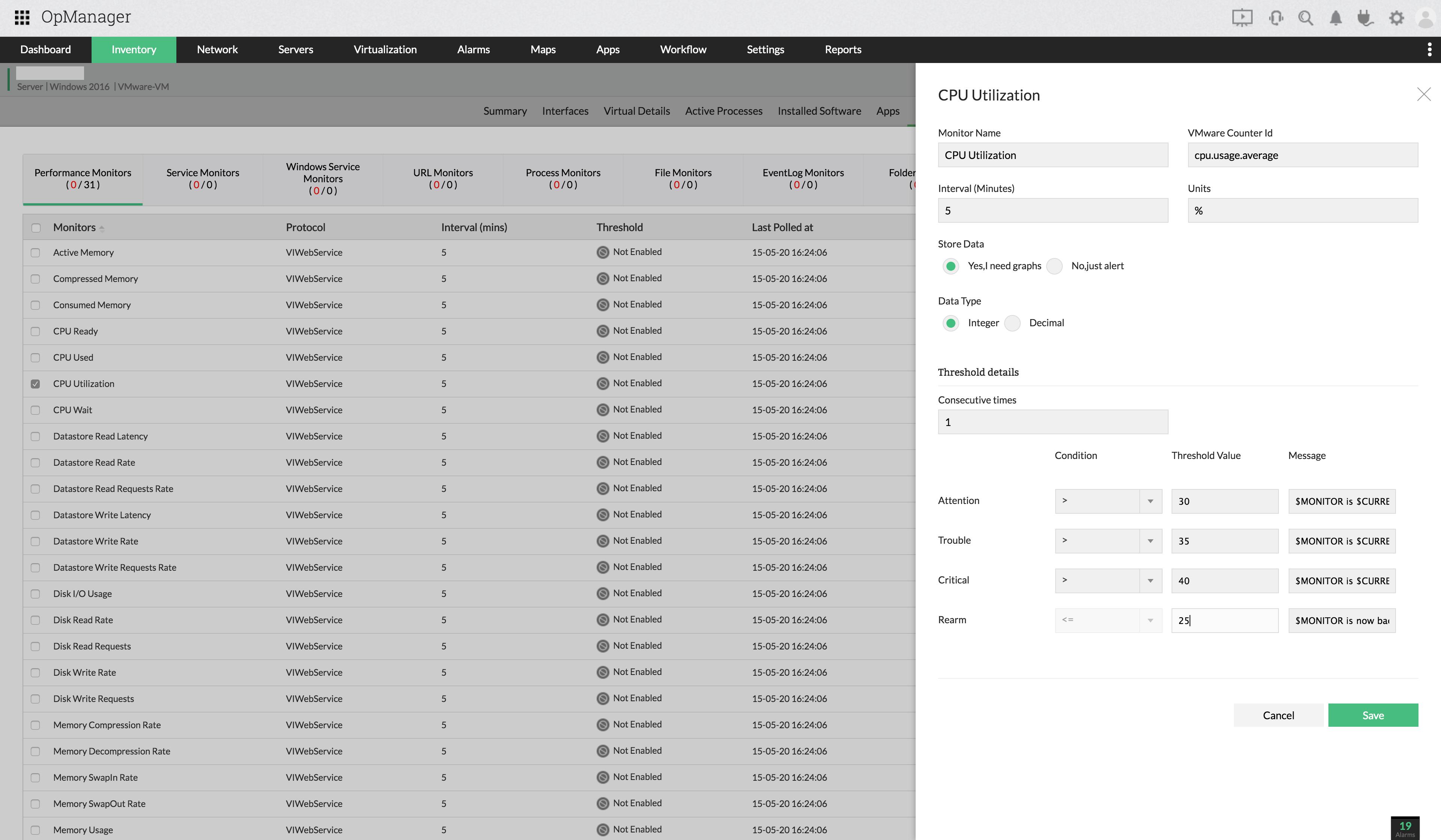 Analyse basée sur des seuils en temps réel - ManageEngine OpManager