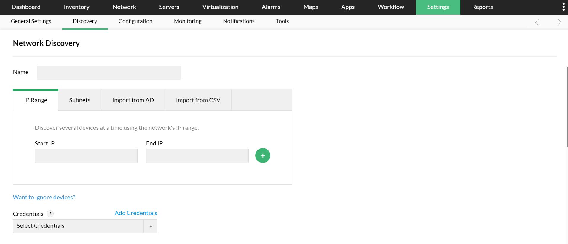 Découverte automatique du réseau - ManageEngine OpManager