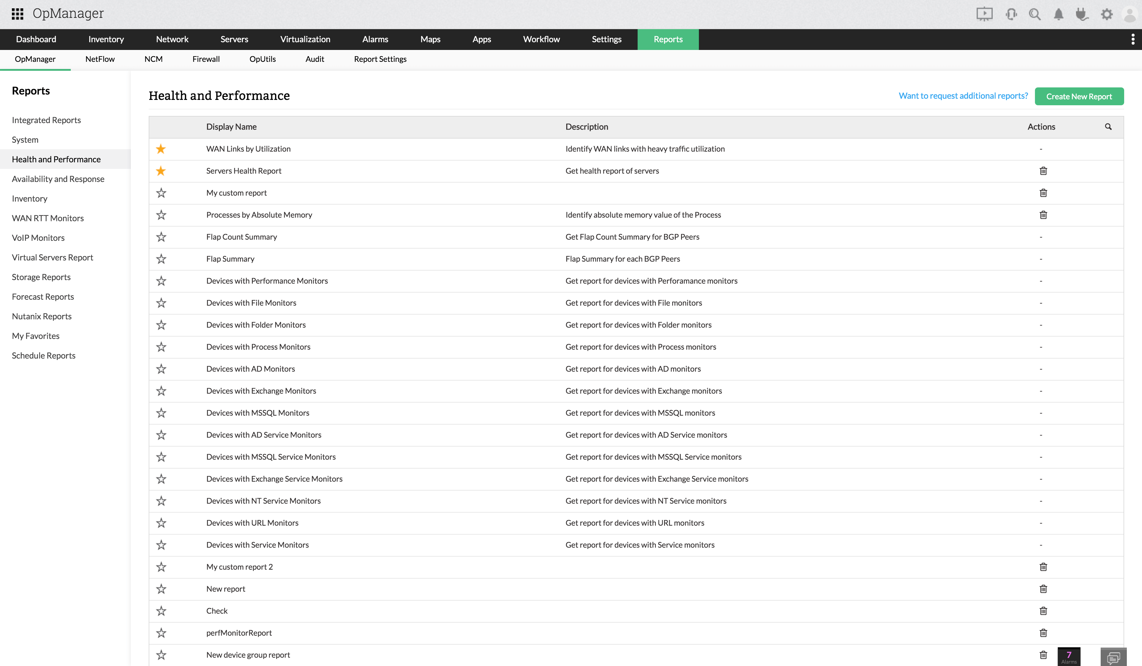ESX reports - ManageEngine OpManager