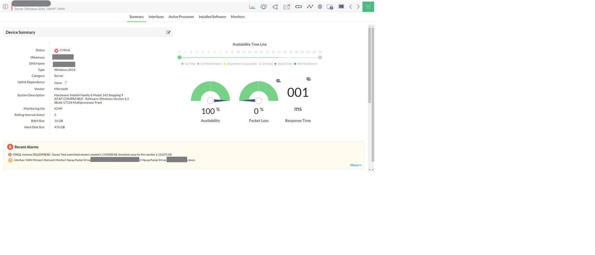 Analyse de la santé et de la disponibilité des serveurs HP