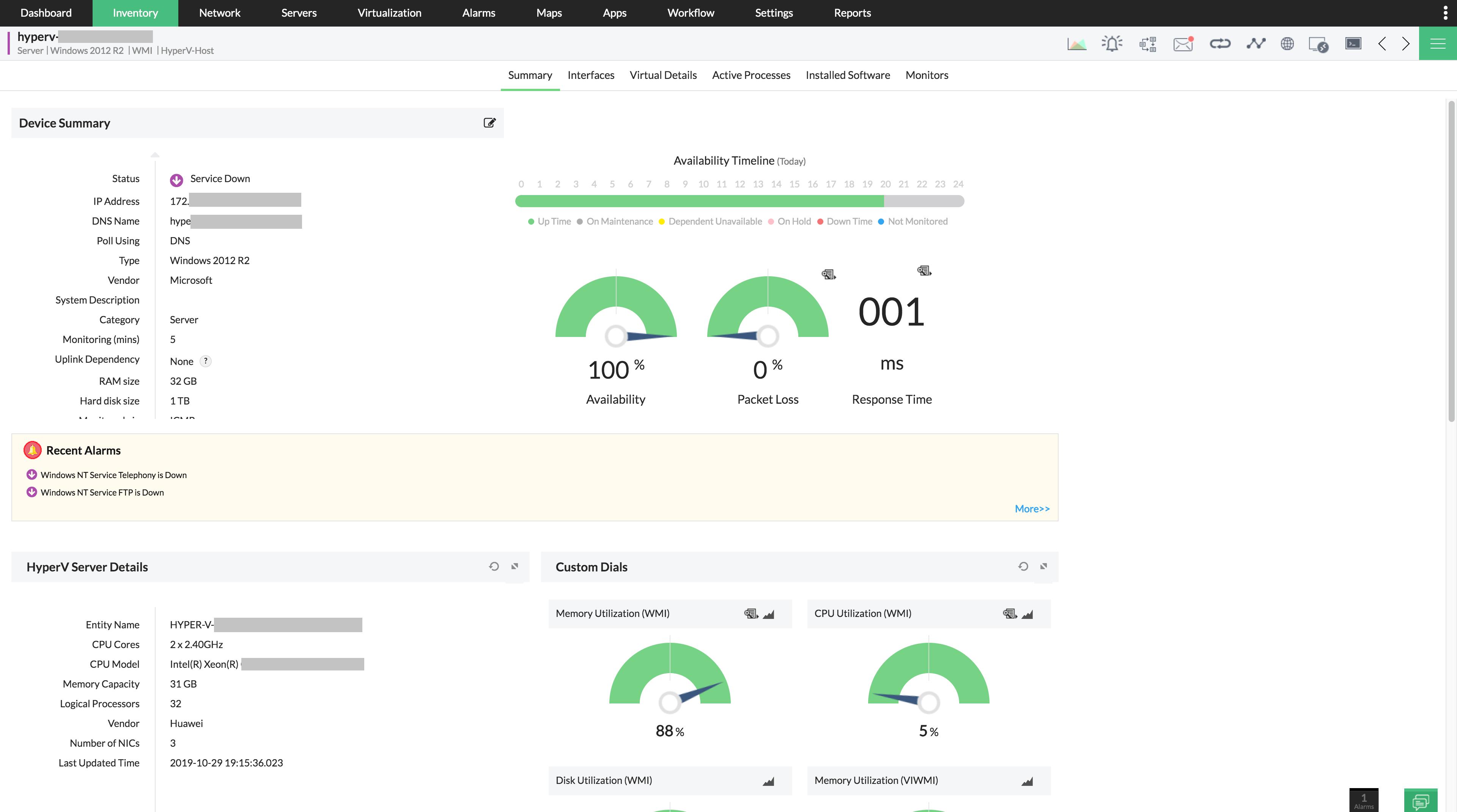 Hyper-V Host Monitoring