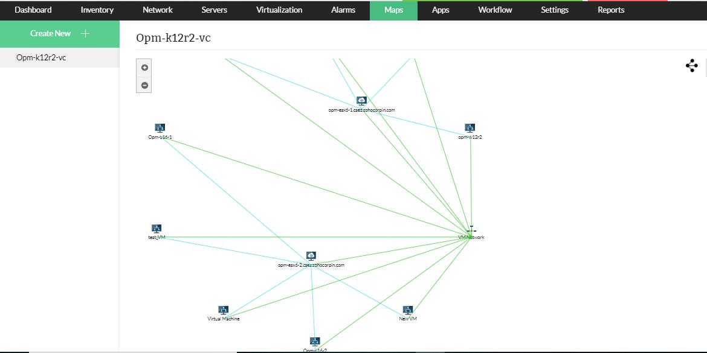 Diagrammes de réseau pour les appareils HyperV, VMware et Xen - ManageEngine OpManager