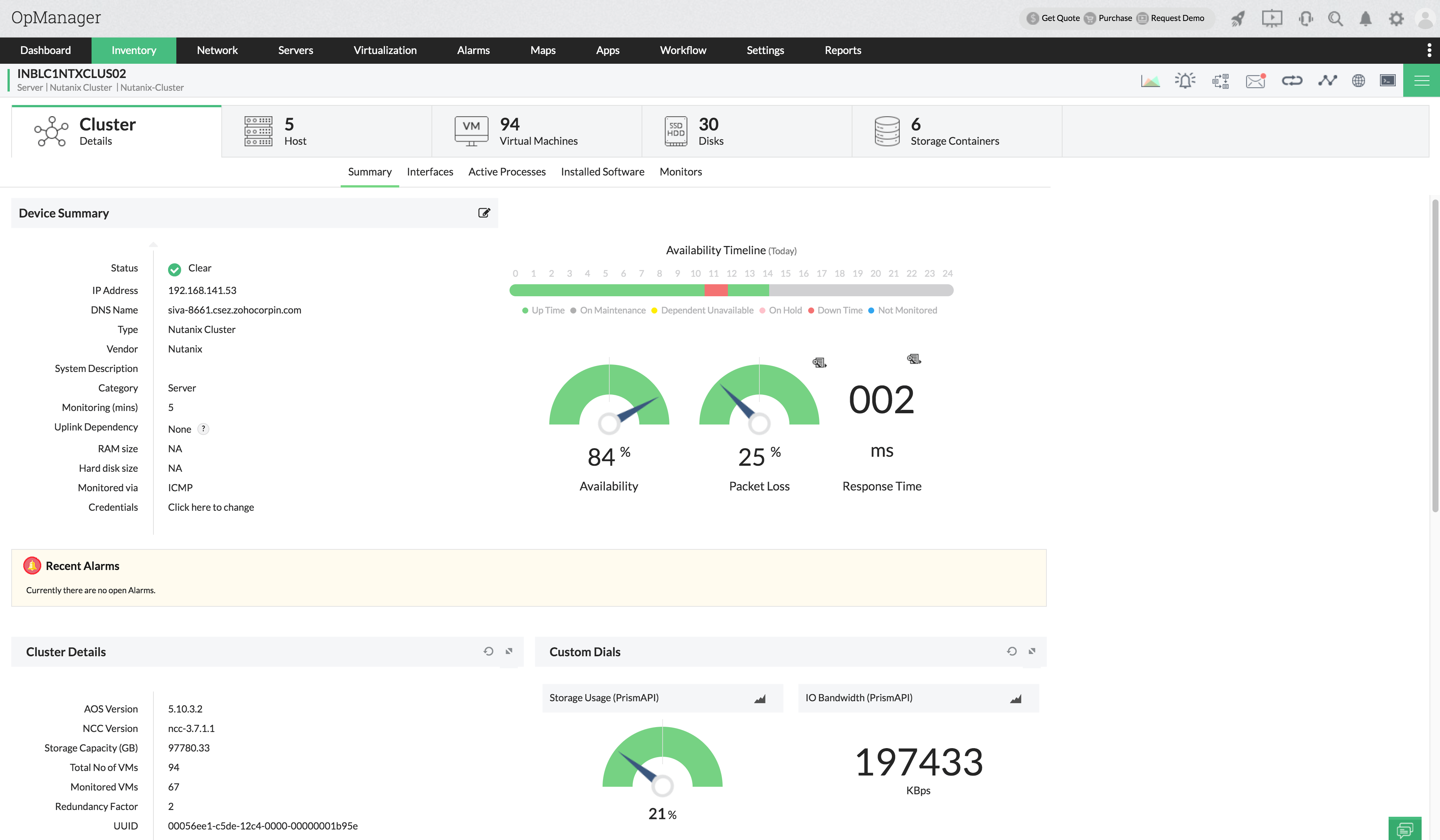Cluster snapshot page in Nutanix Monitoring - ManageEngine OpManager