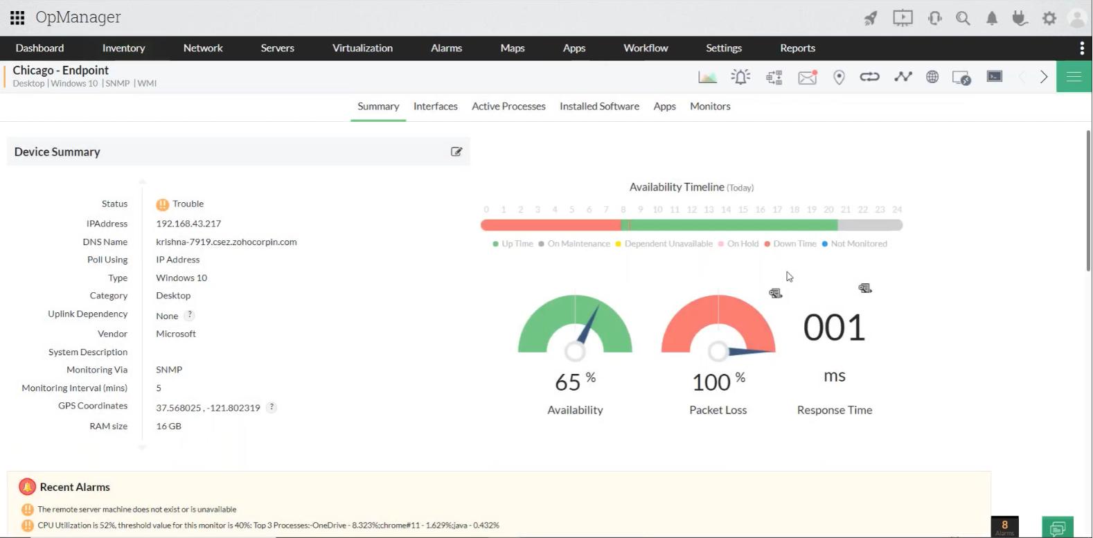 Analyse de la disponibilité des serveurs - ManageEngine OpManager