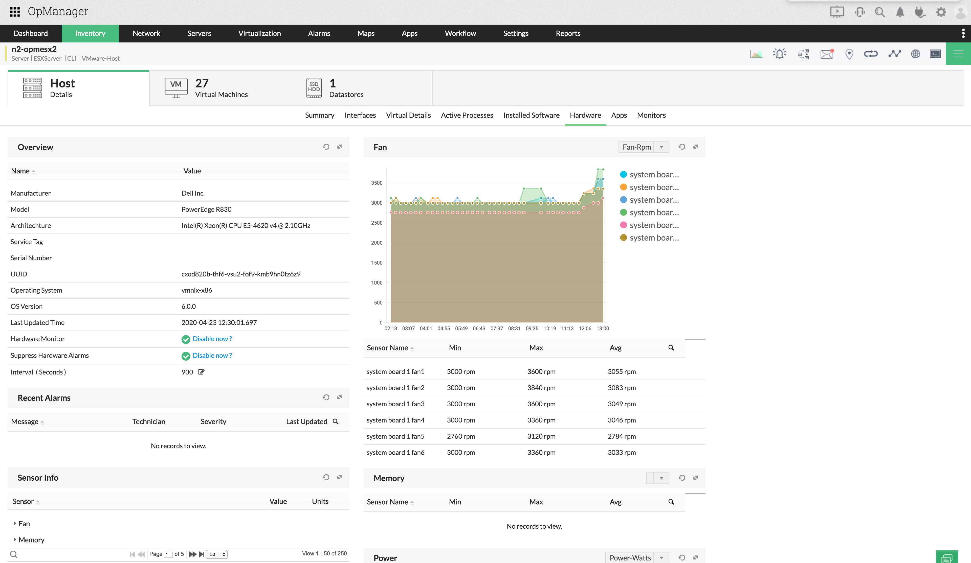VMware ESXi Hardware Monitoring - ManageEngine OpManager