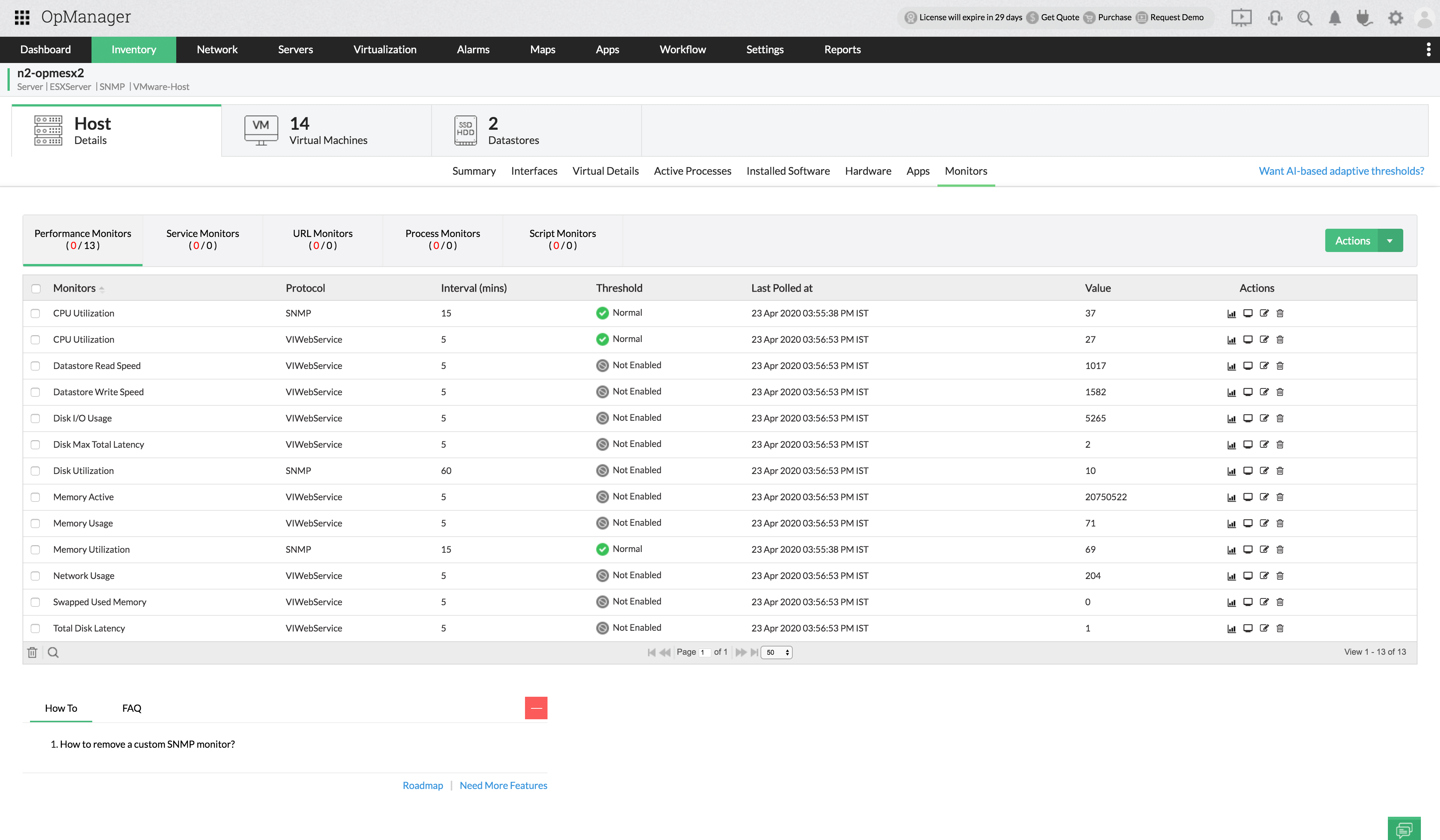 VMware ESXi SNMP Monitoring - ManageEngine OpManager