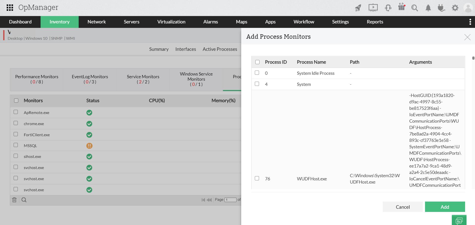 Suivez les performances des processus 24h/24 - ManageEngine OpManager