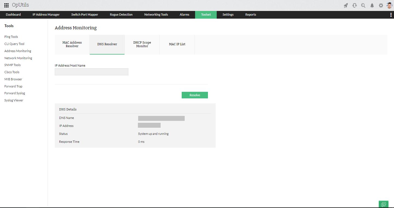 DNS IP Resolver Tool - ManageEngine OpUtils