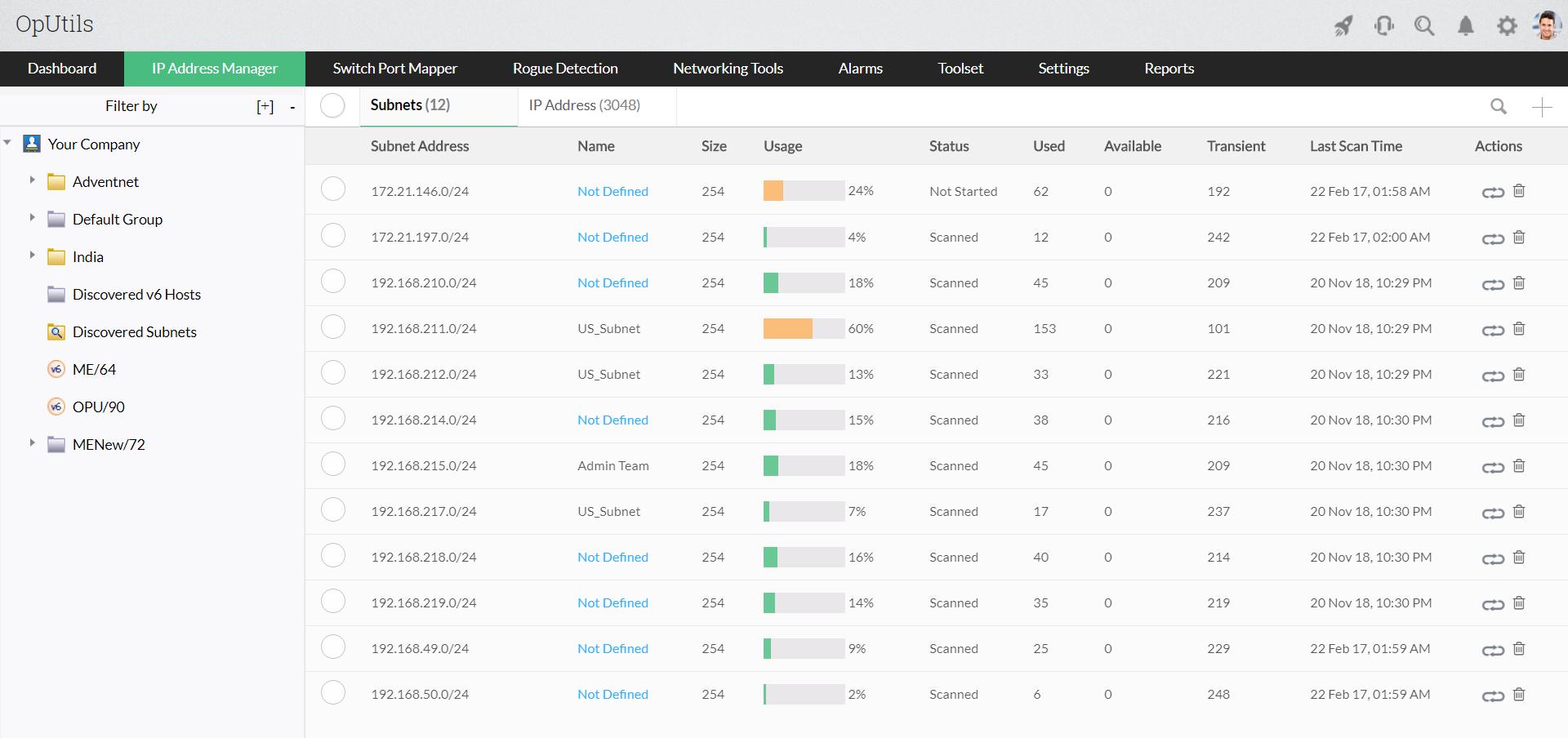IP Address Monitor - ManageEngine OpUtils